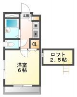 庄町 アパート 1K 201間取り図