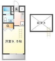 昭和町 アパート 1K 306間取り図