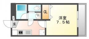 昭和町 マンション 1K 802間取り図
