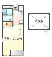 昭和町 アパート 1K 307間取り図